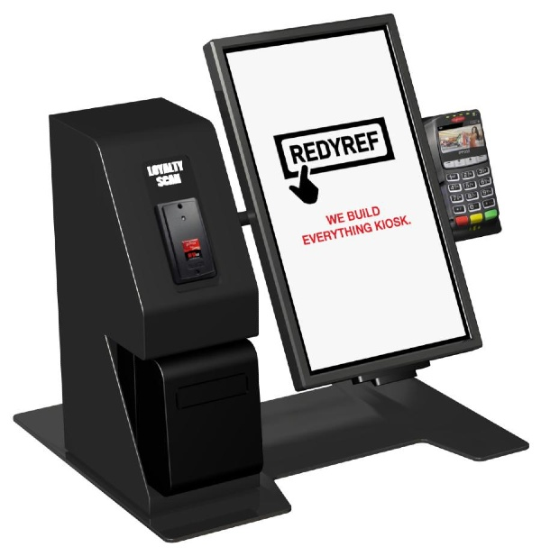 RedyRef counter-mounted Prodigy kiosk with Elo tablet