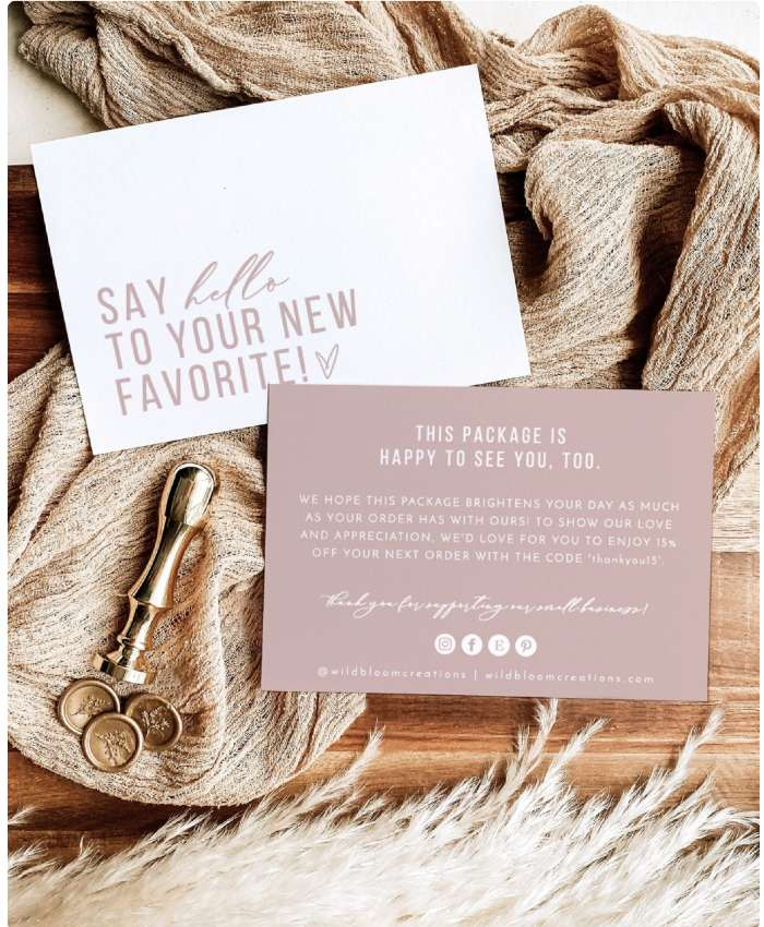 brand voice and personalized note from Etsy