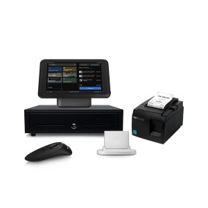 iPad stand, card reader, receipt printer, cash drawer, and barcode scanner