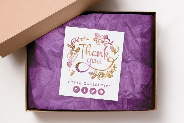 simple thank you note inside the box