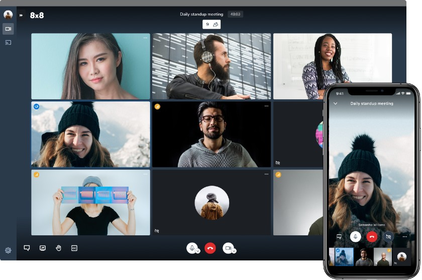 8x8 Video Conference on desktop and mobile Interface