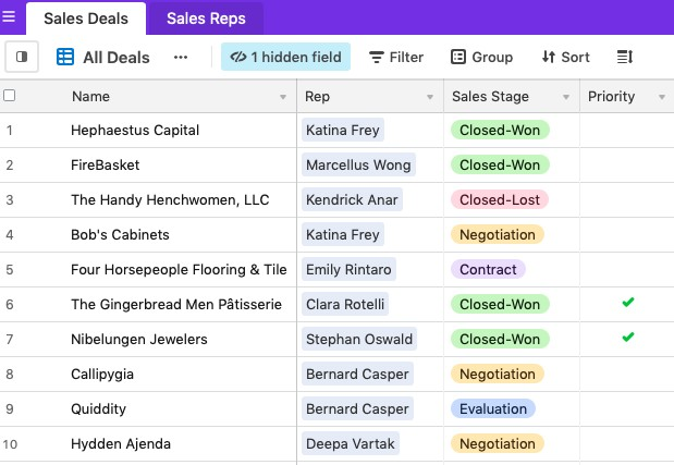Airtable Sales Deal Dashboard