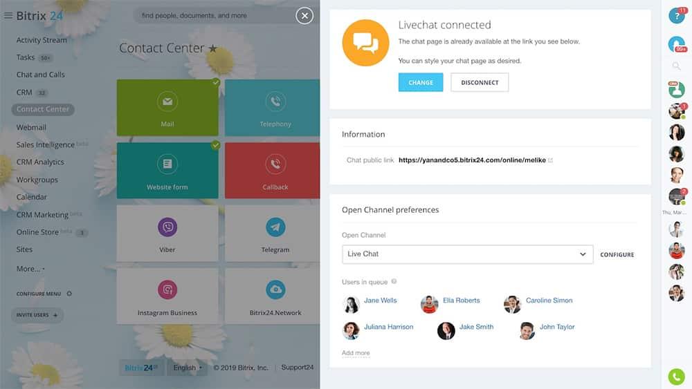 Screenshot of Bitrix24 Contact Center Customer Support