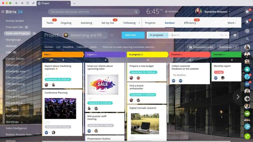 Bitrix24 Project Management Kanban View
