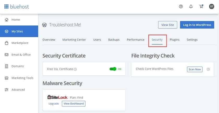 Screenshot of Bluehost SSL certificates