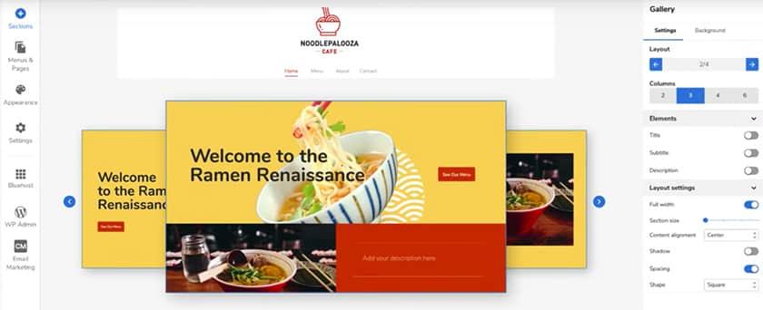 Screenshot of Bluehost website builder