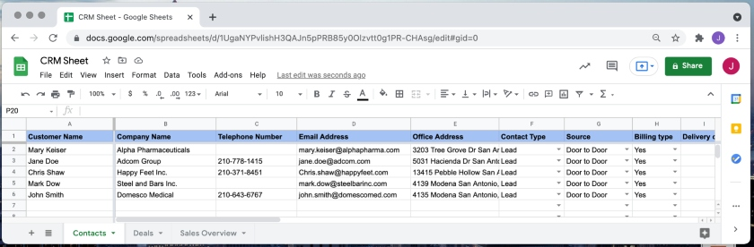 CRM Sheet snapshot of the contacts tab