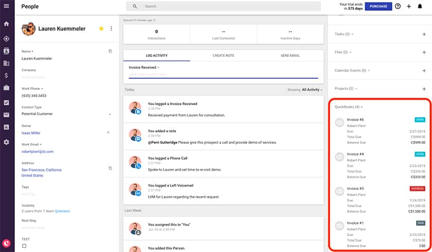 Screenshot of Copper CRM Integration with Dropbox