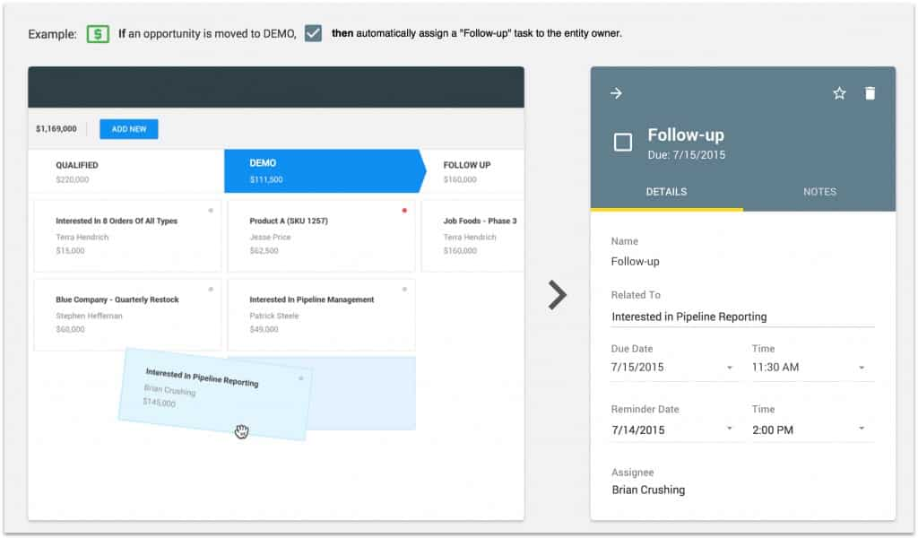 Screenshot of Copper CRM Automated Task Creation