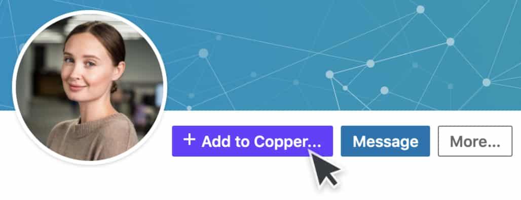 Screenshot of Copper CRM Profile Enrichment from LinkedIn