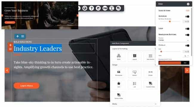 Screenshot of DreamHost website builder