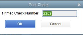 Screenshot of QuickBooks Desktop Enter the Check Number
