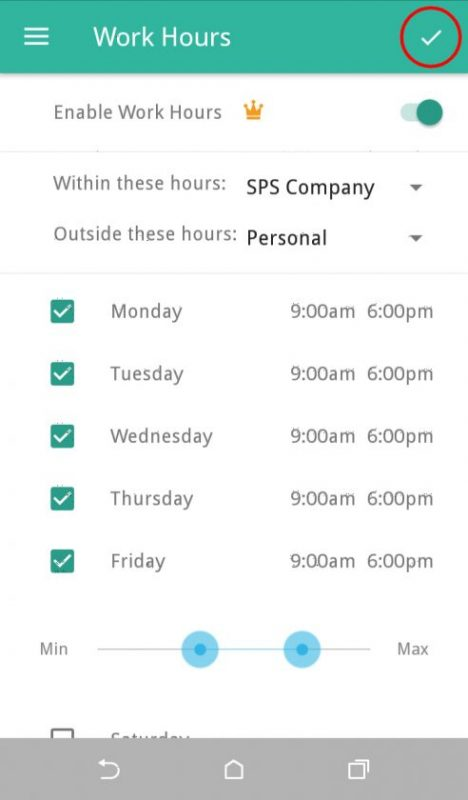 Screenshot of Everlance Setting Up Work Hours Android