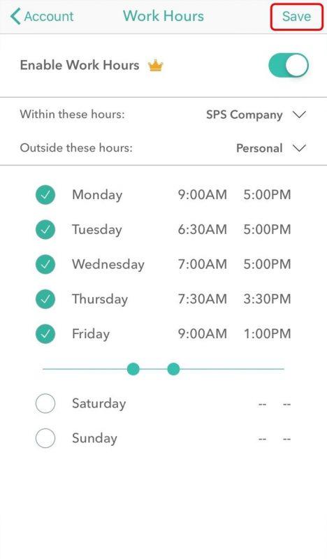 Screenshot of Everlance Setting Up Work Hours iOS