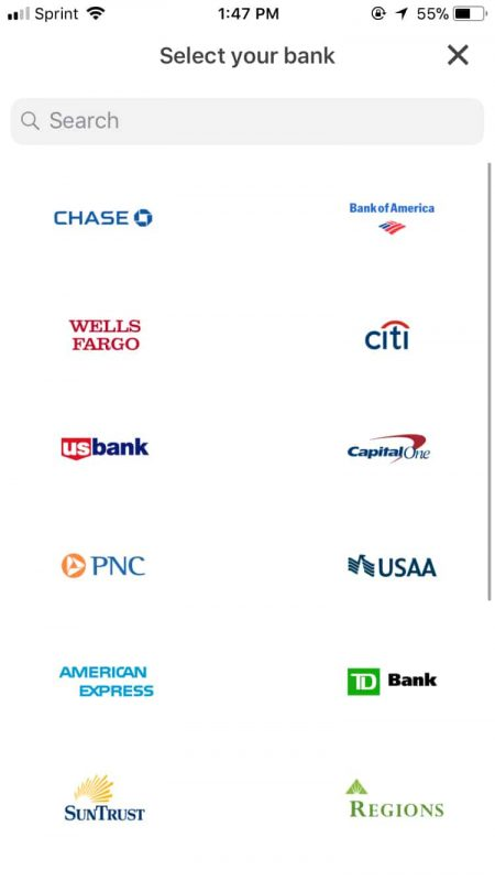 Screenshot of Supported Banks and Payment Channels