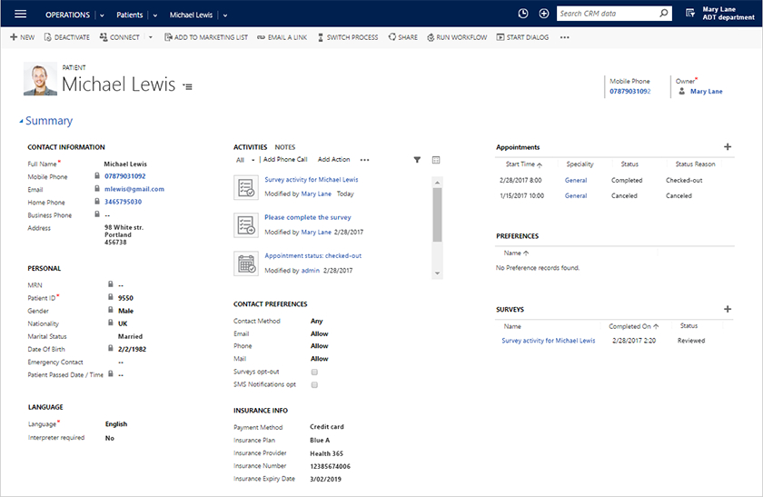 Example of ScienceSoft customized CRM