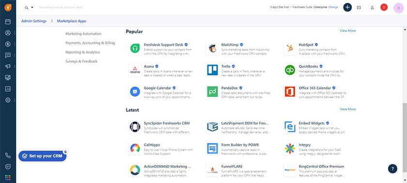 Freshsales Popular Marketplace Apps