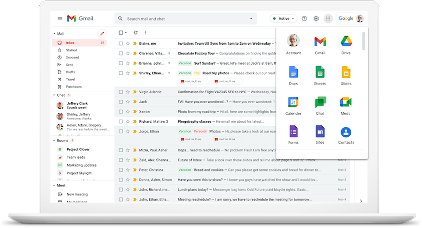 Google Workspace apps within Gmail