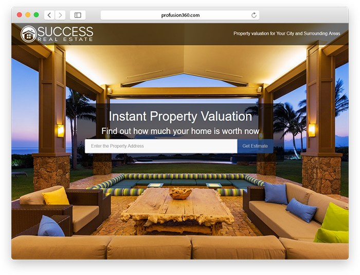 Home Valuation landing page