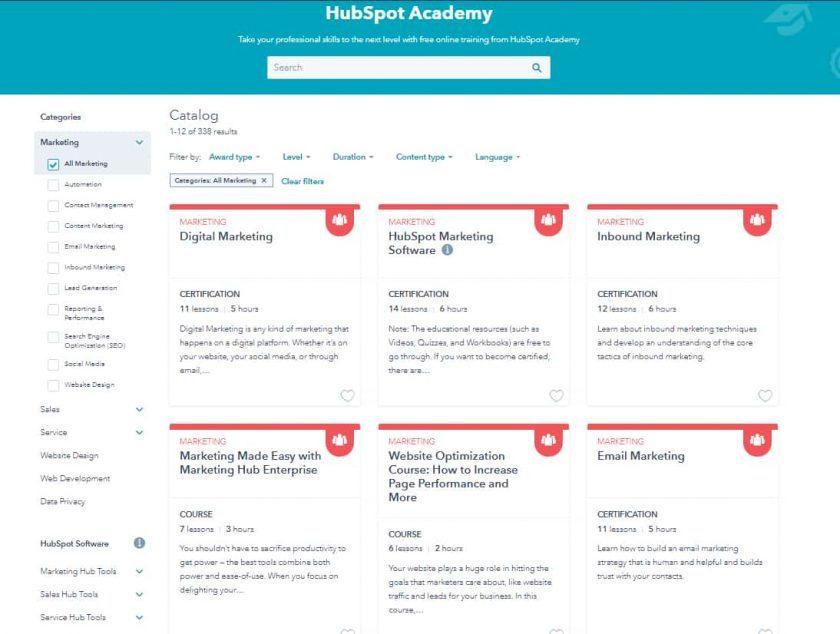 Screenshot of HubSpot Academy Marketing courses