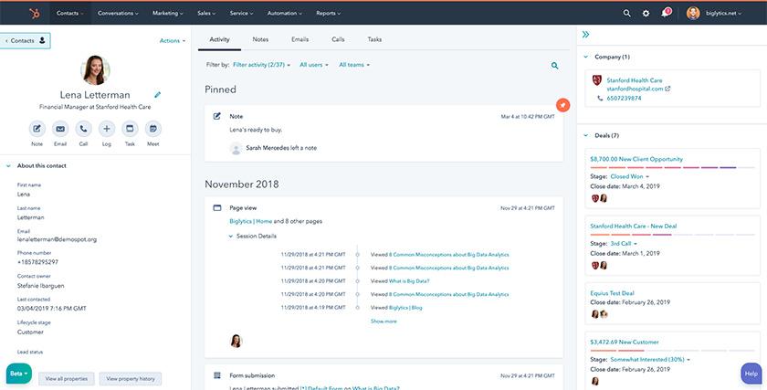 HubSpot CRM Contact Profile