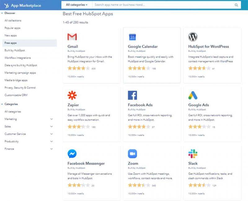 Screenshot of HubSpot CRM third-party integrations