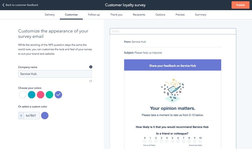 HubSpot Customer Feedback Tools Interface