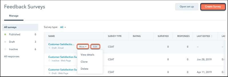 Screenshot of HubSpot Customer Surveys Page