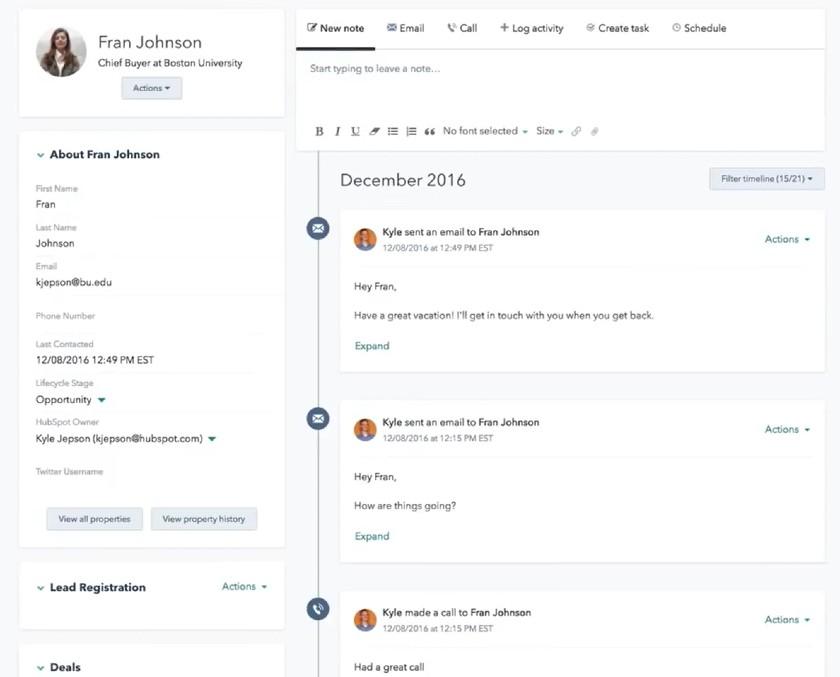 HubSpot Customer record
