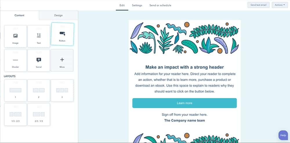 Screenshot of HubSpot Newsletter Design Tool