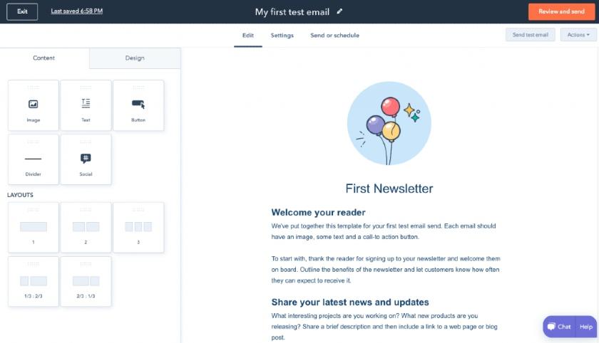HubSpot Newsletter Editor