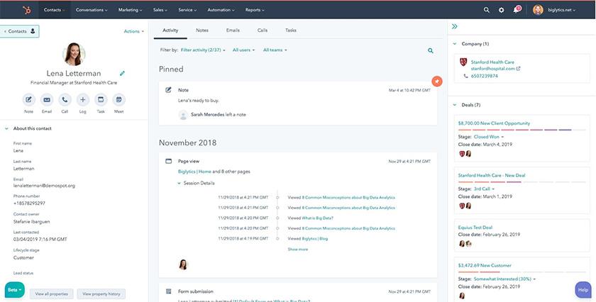 HubSpot contact management dashboard