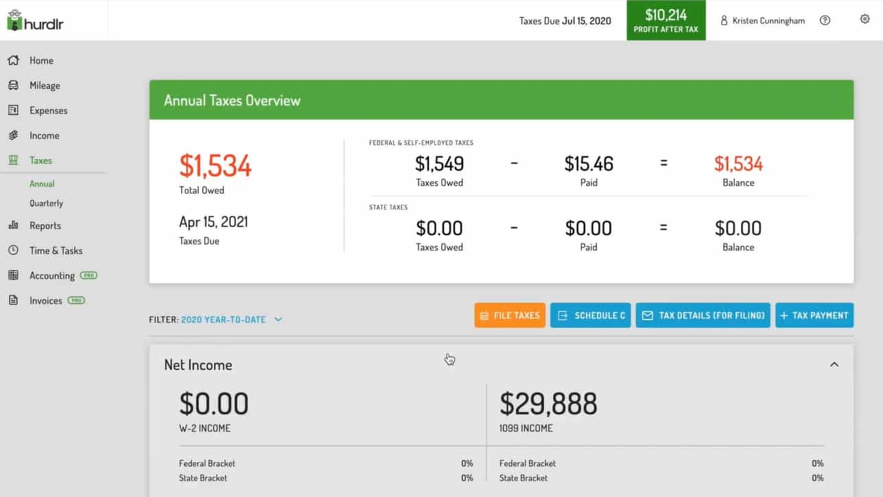 Screenshot of Hurdlr Taxes Dashboard