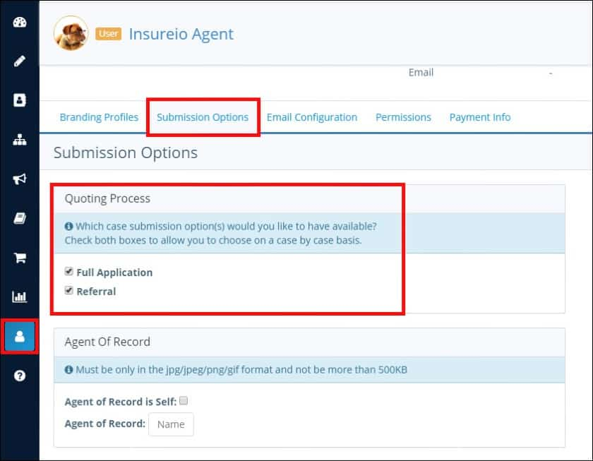 Screenshot of Insurio submission options page
