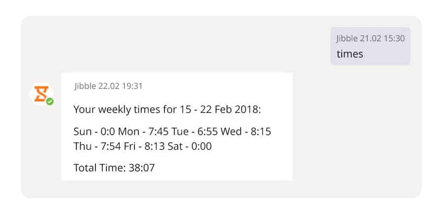Screenshot of Jibble Timesheet data