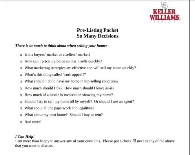 Screenshot of Keller Williams Realty sample Pre-listing form