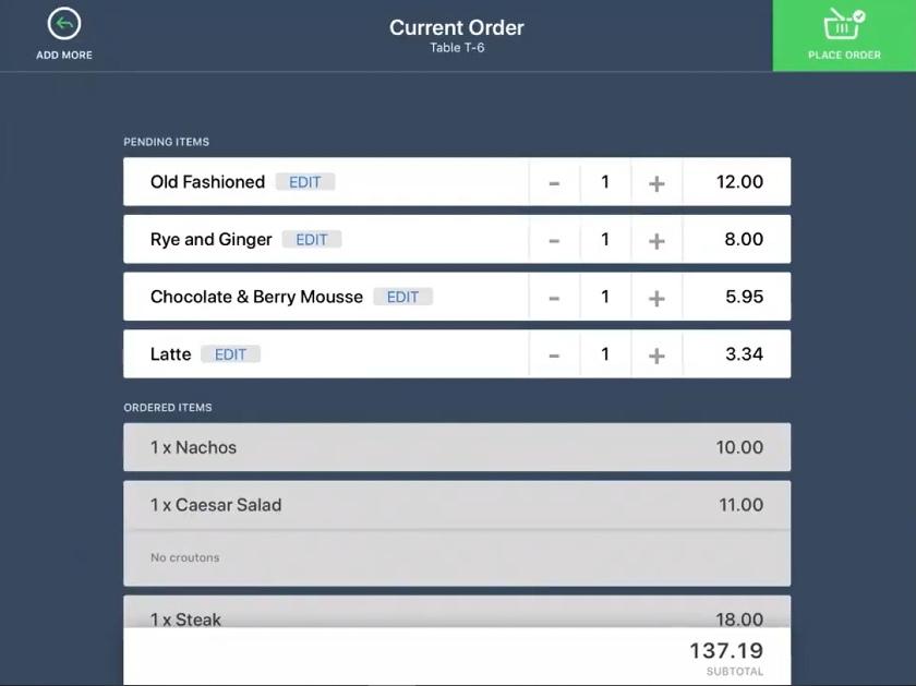Lightspeed kiosk Customers order summary screen