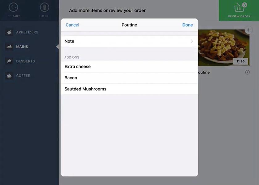 Lightspeed kiosk Modification options popup