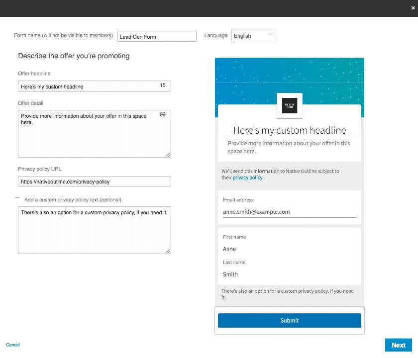 LinkedIn Lead Generation Form