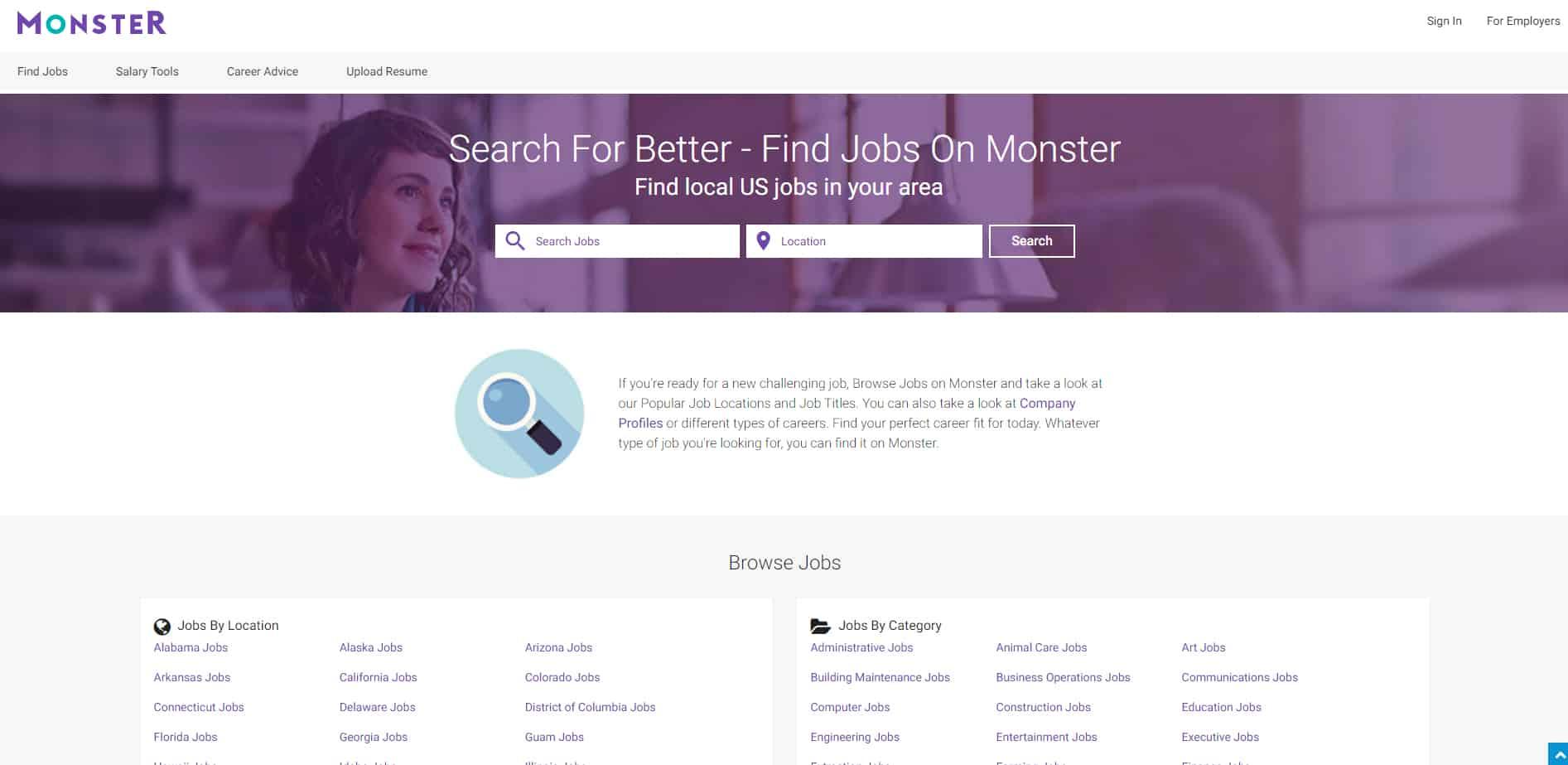 Screenshot of Monster Job Seeker Tools