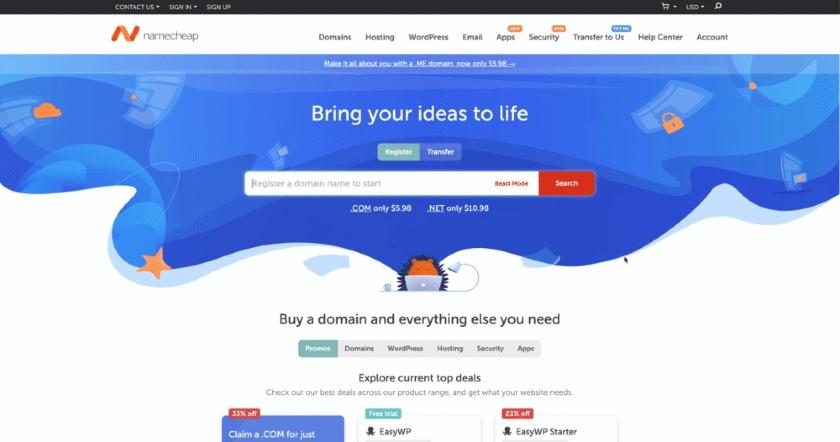 Namecheap Webpage Screenshot