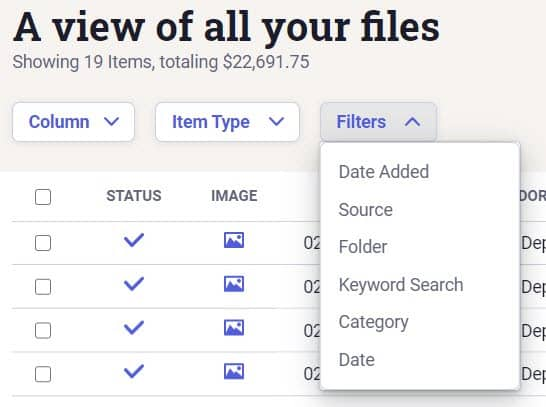 Screenshot of NeatFiles Filter Items based on Other Filter Categories