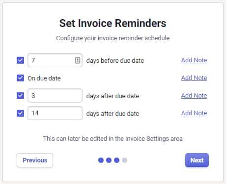 Screenshot of NeatFiles Setting Invoice Reminders