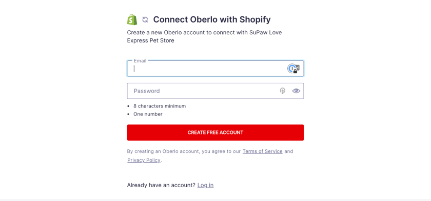 Oberlo New account SignUp Form