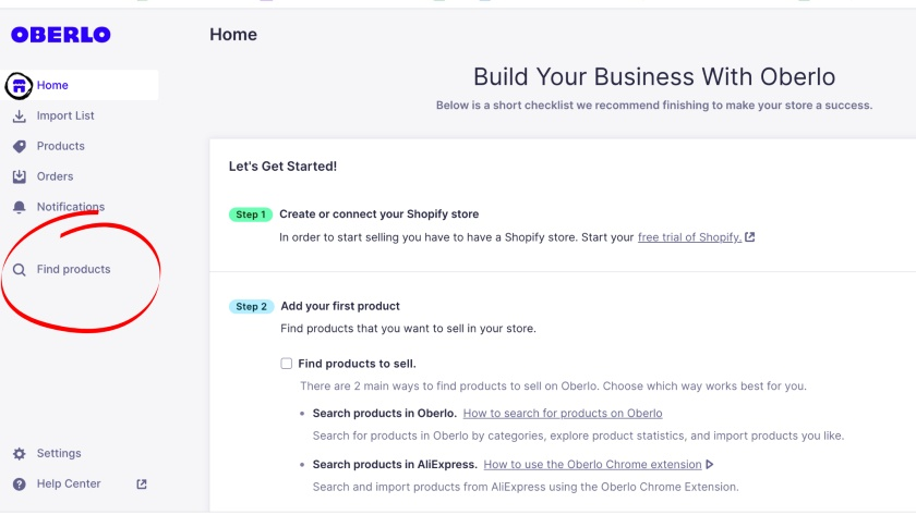 Oberlo dashboard click Find Products
