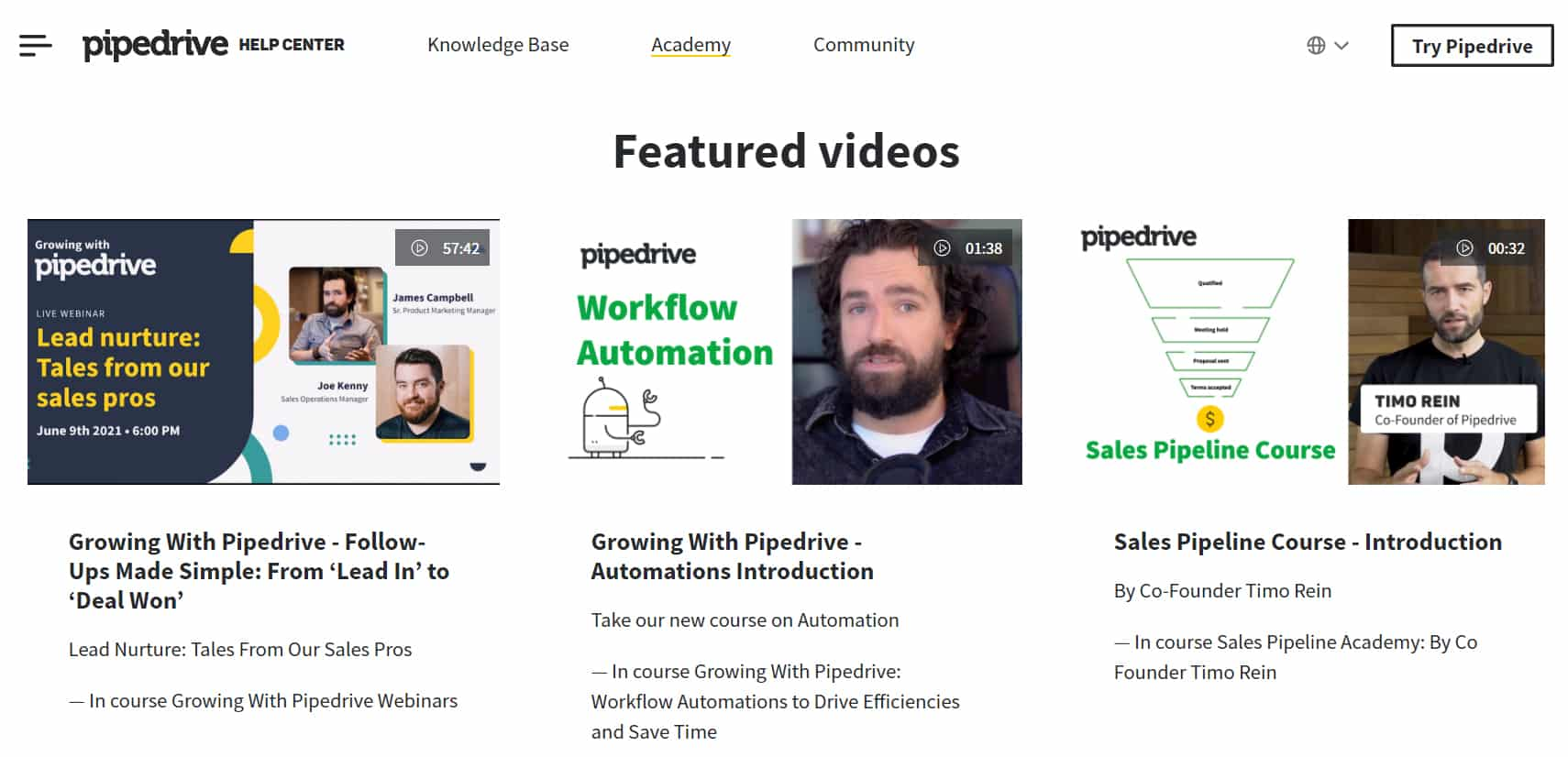 Screenshot of Pipedrive Pipedrive Academy video courses