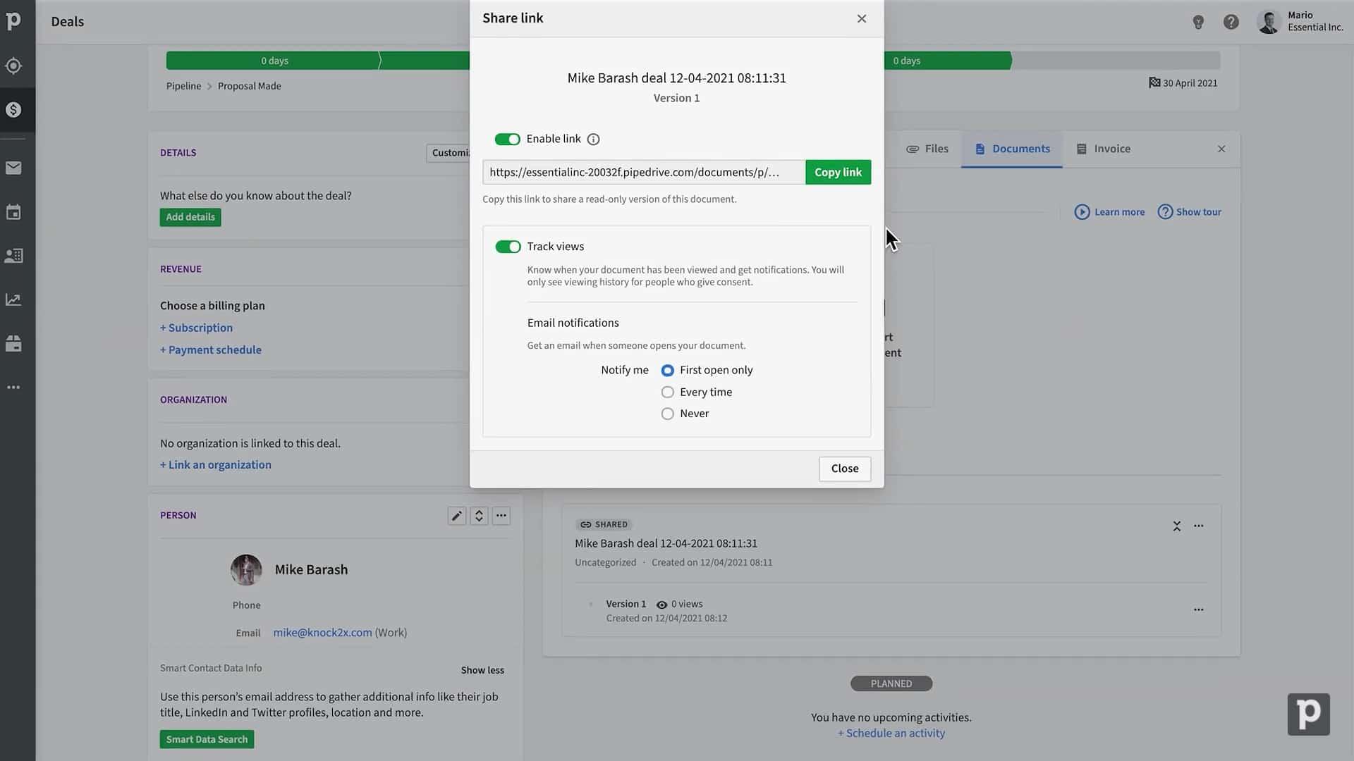 Screenshot of Pipedrive Smart Docs