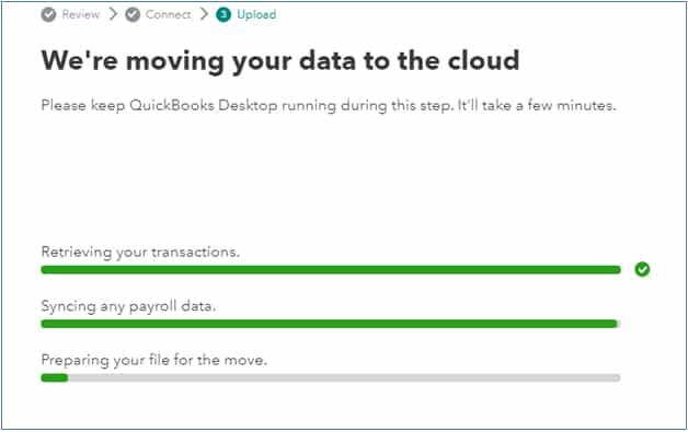 Screenshot of QuickBooks Data File Transfer Confirmation