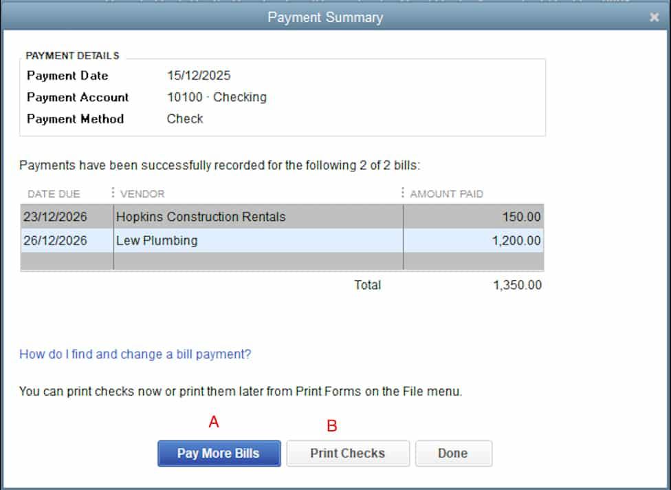 Screenshot of QuickBooks Desktop Checks Created