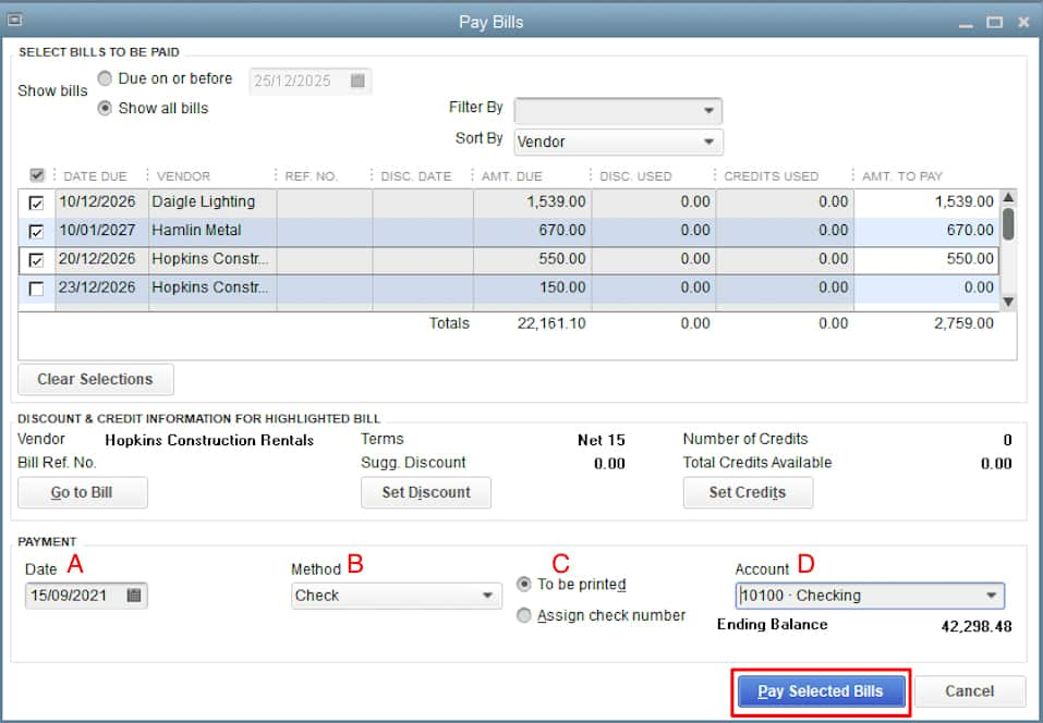 Screenshot of QuickBooks Desktop Creating a Check